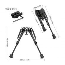 6-9″ Shooting Bipod with sling stud mount adapter and 20mm rail adapter